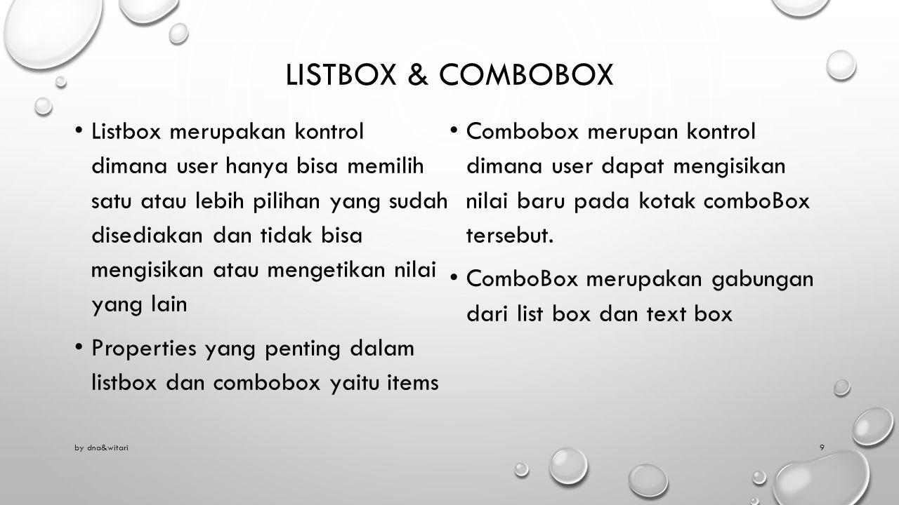 Listbox & combobox
