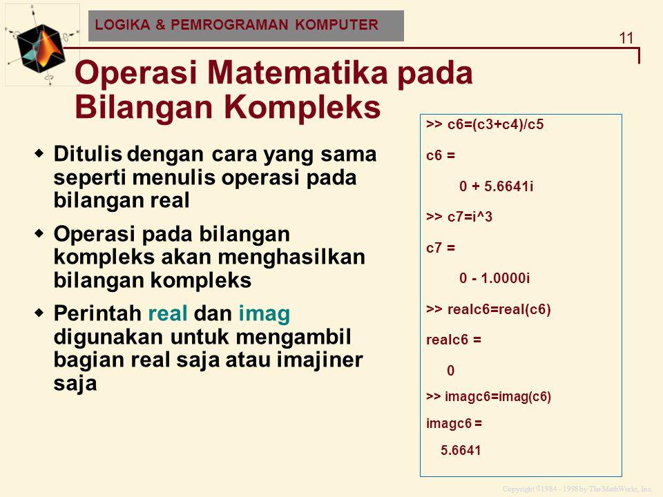 Operasi Matematika pada Bilangan Kompleks