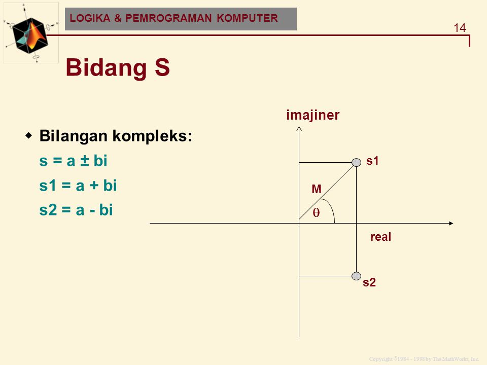 Bidang S Bilangan kompleks: s = a ± bi s1 = a + bi s2 = a - bi