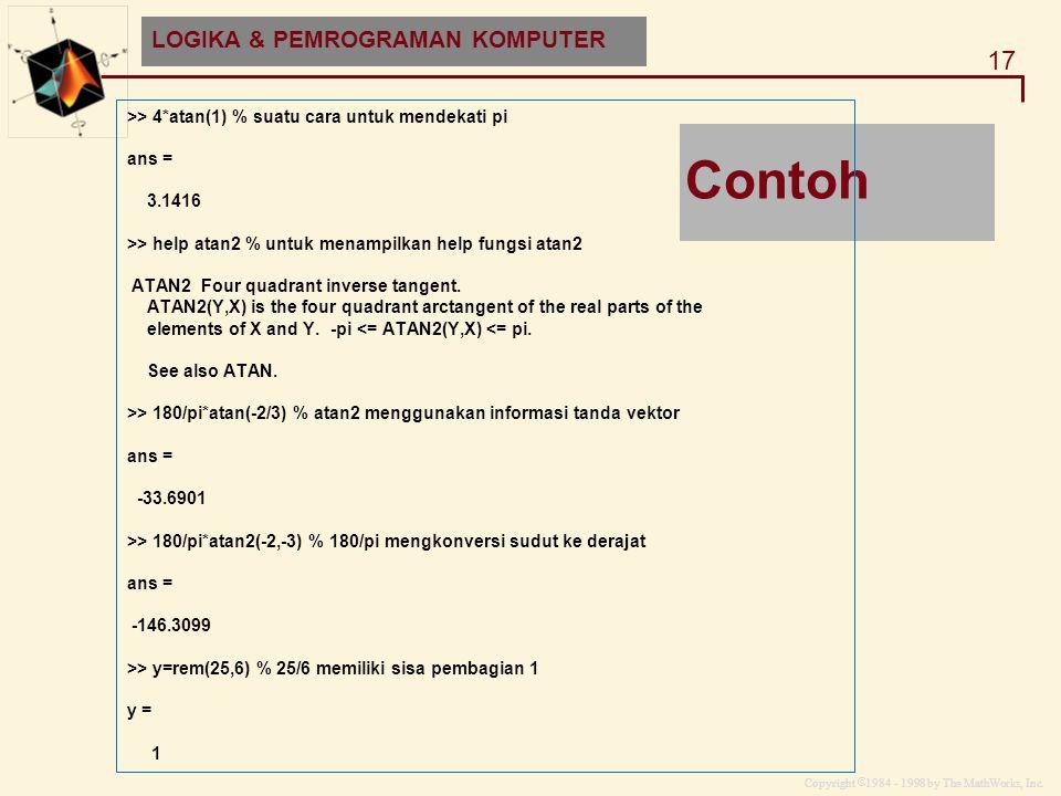 Contoh LOGIKA & PEMROGRAMAN KOMPUTER