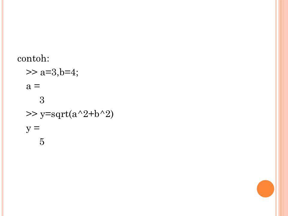 contoh: >> a=3,b=4; a = 3 >> y=sqrt(a^2+b^2) y = 5