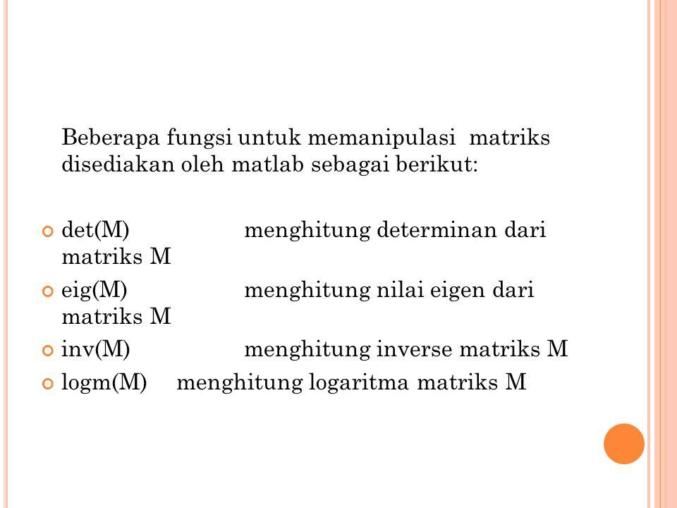 Beberapa fungsi untuk memanipulasi matriks disediakan oleh matlab sebagai berikut: