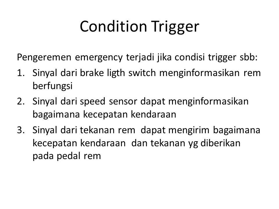 Condition Trigger Pengeremen emergency terjadi jika condisi trigger sbb: Sinyal dari brake ligth switch menginformasikan rem berfungsi.