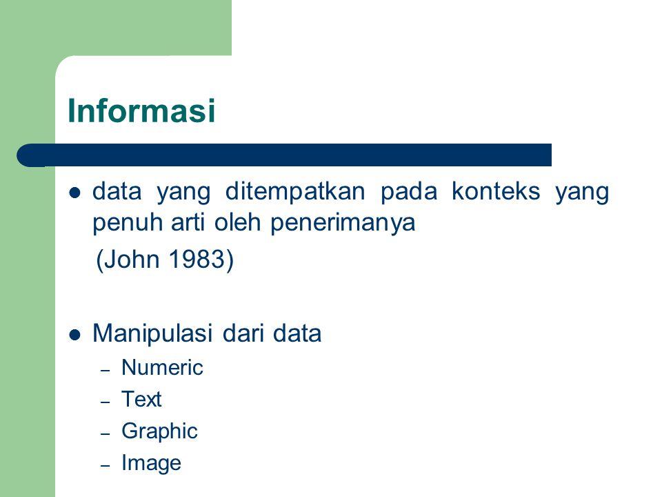 Informasi data yang ditempatkan pada konteks yang penuh arti oleh penerimanya. (John 1983) Manipulasi dari data.