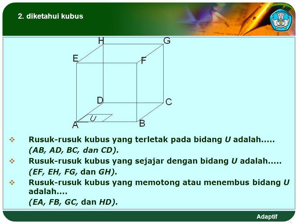 2. diketahui kubus Rusuk-rusuk kubus yang terletak pada bidang U adalah..... (AB, AD, BC, dan CD).