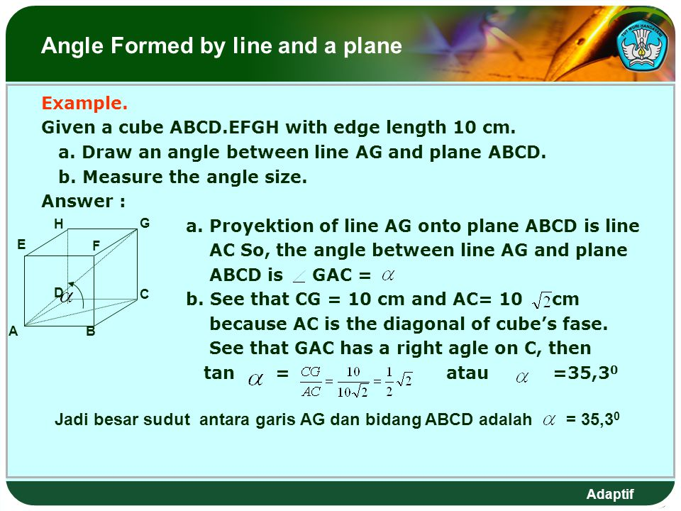 Angle Formed by line and a plane