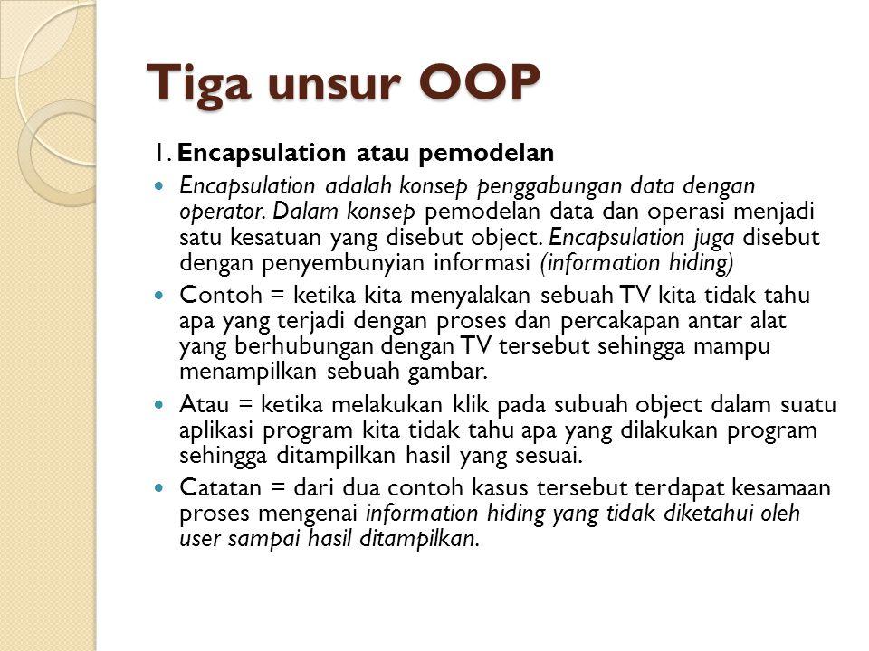 Tiga unsur OOP 1. Encapsulation atau pemodelan