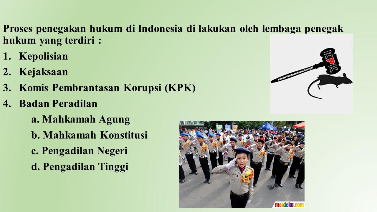 Proses penegakan hukum di Indonesia di lakukan oleh lembaga penegak hukum yang terdiri :