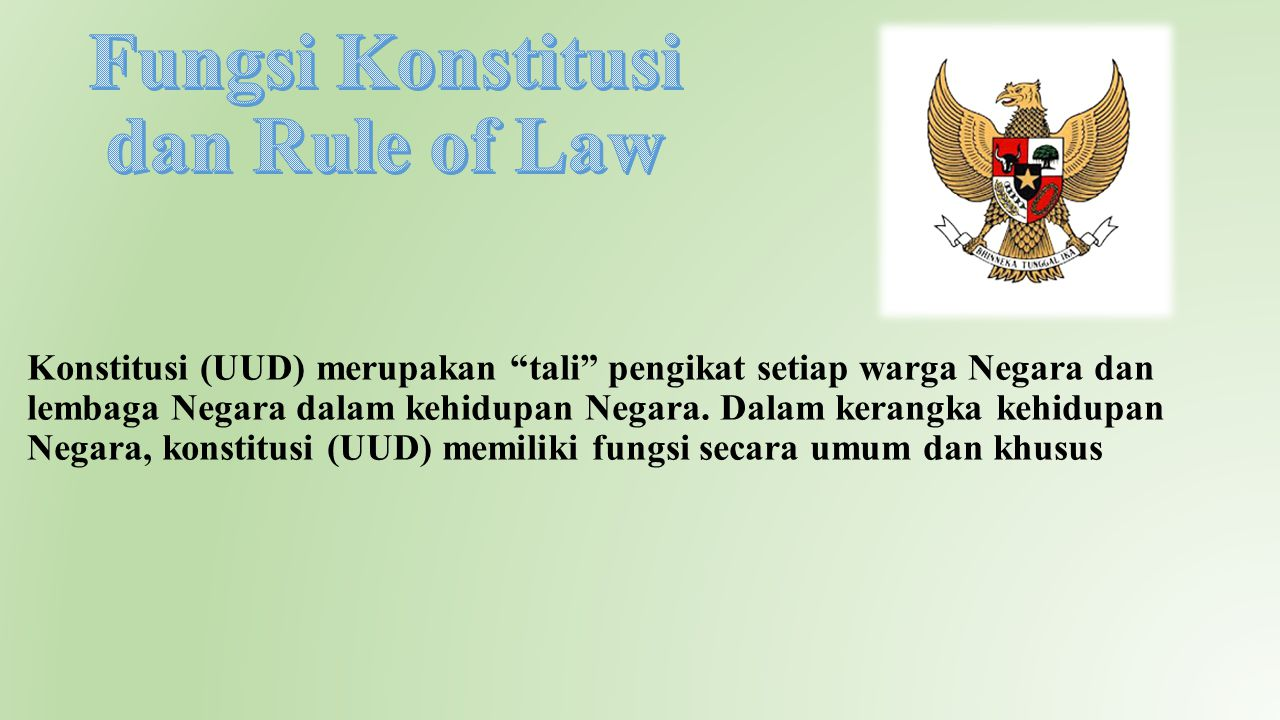 Fungsi Konstitusi dan Rule of Law