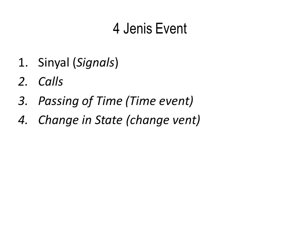4 Jenis Event Sinyal (Signals) Calls Passing of Time (Time event)