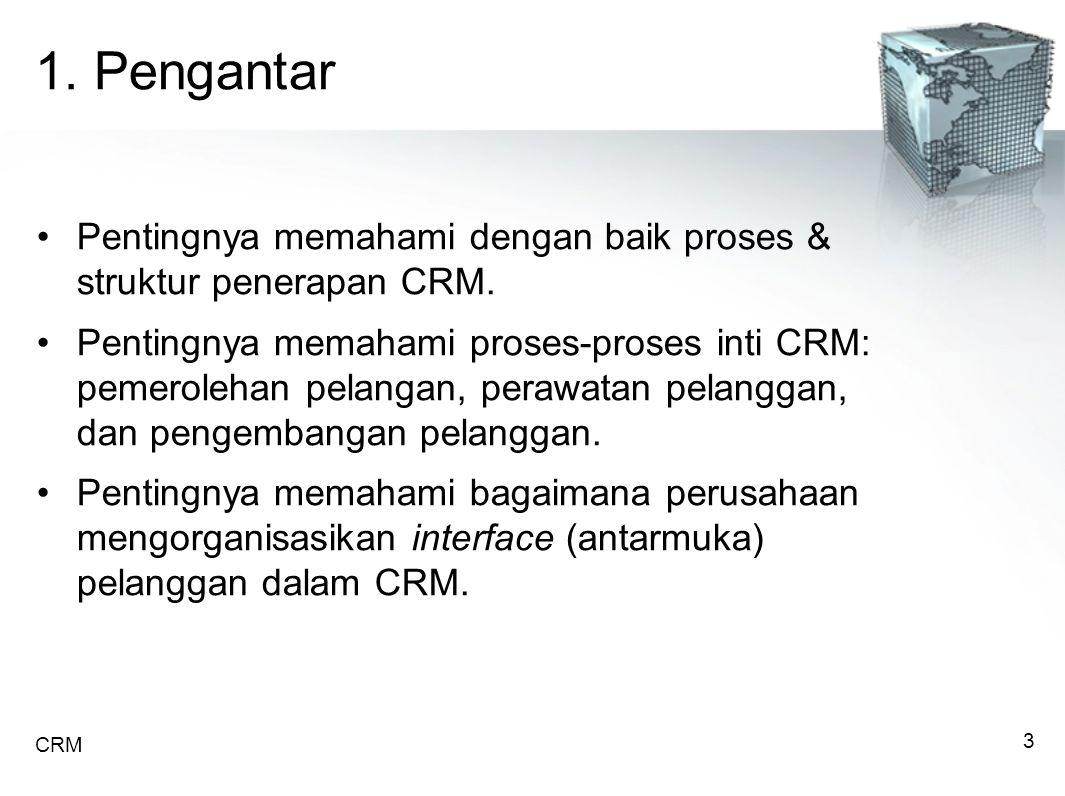 1. Pengantar Pentingnya memahami dengan baik proses & struktur penerapan CRM.