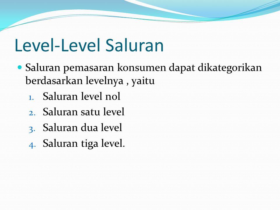 Level-Level Saluran Saluran pemasaran konsumen dapat dikategorikan berdasarkan levelnya , yaitu. Saluran level nol.