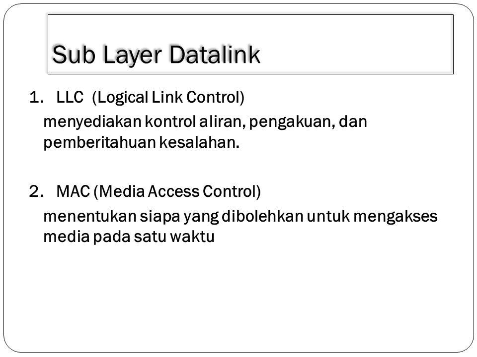 Sub Layer Datalink 1. LLC (Logical Link Control)