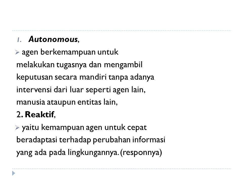 Autonomous, agen berkemampuan untuk. melakukan tugasnya dan mengambil. keputusan secara mandiri tanpa adanya.