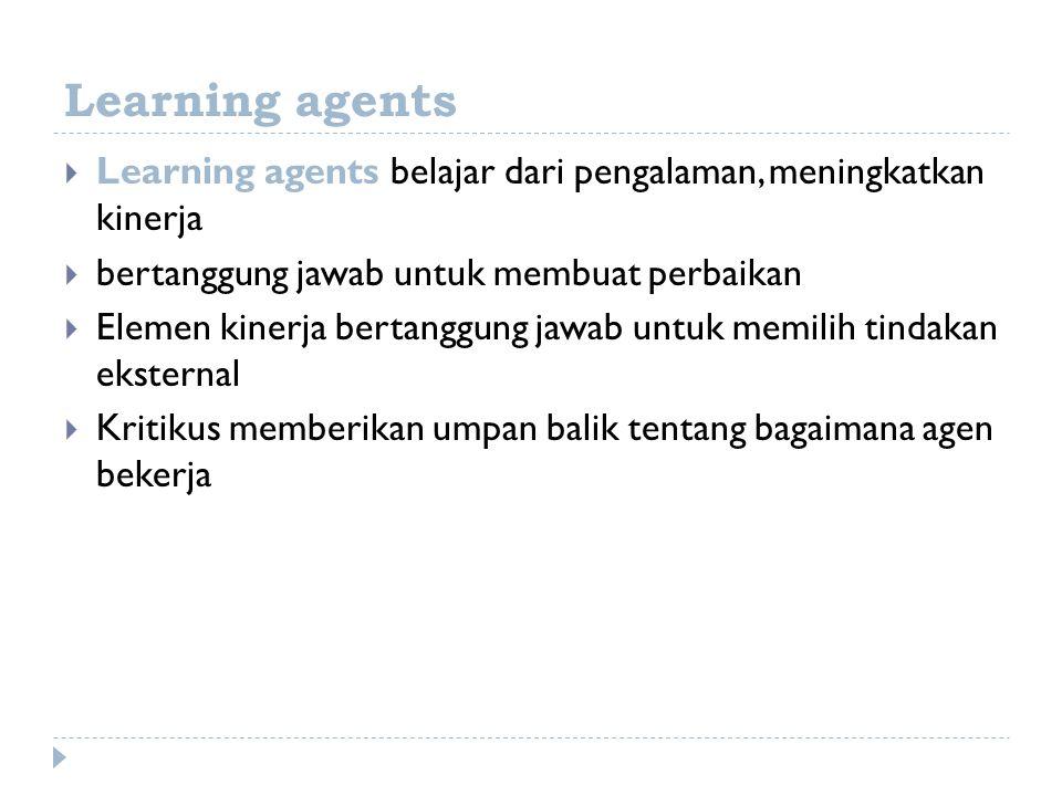 Learning agents Learning agents belajar dari pengalaman, meningkatkan kinerja. bertanggung jawab untuk membuat perbaikan.