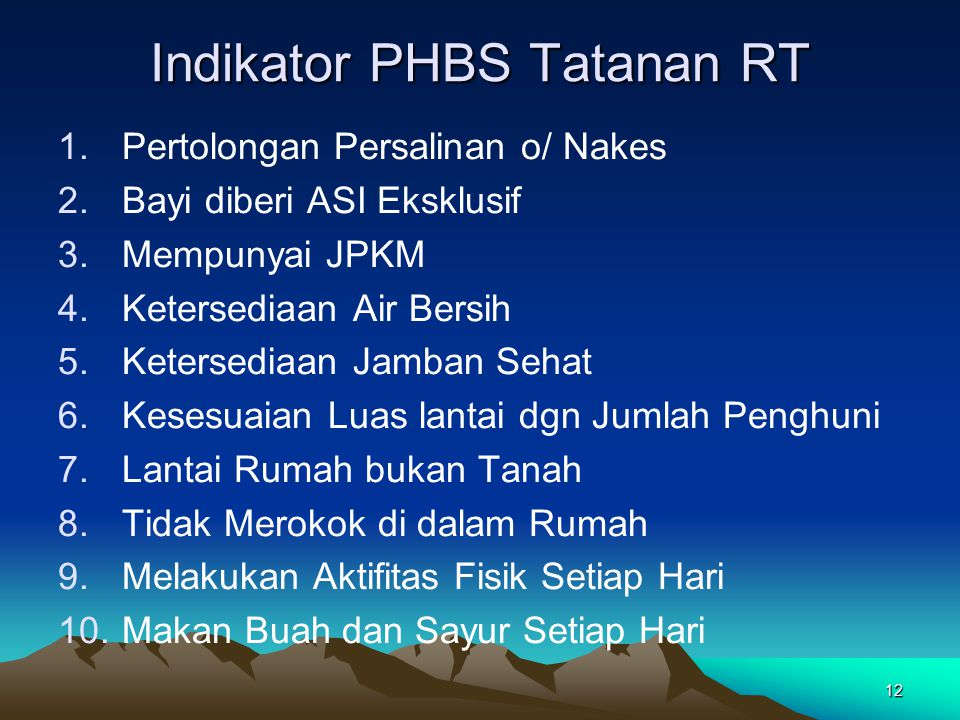 Indikator PHBS Tatanan RT
