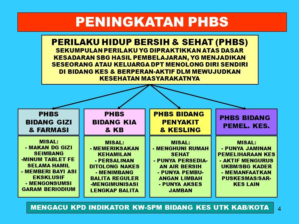 PENINGKATAN PHBS PERILAKU HIDUP BERSIH & SEHAT (PHBS) PHBS BIDANG GIZI