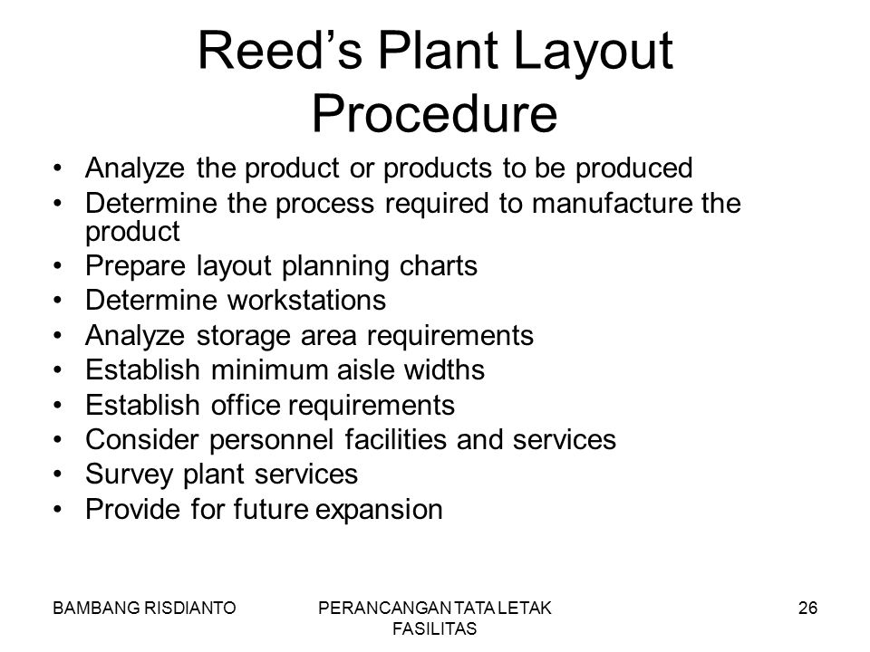 Reed's Plant Layout Procedure