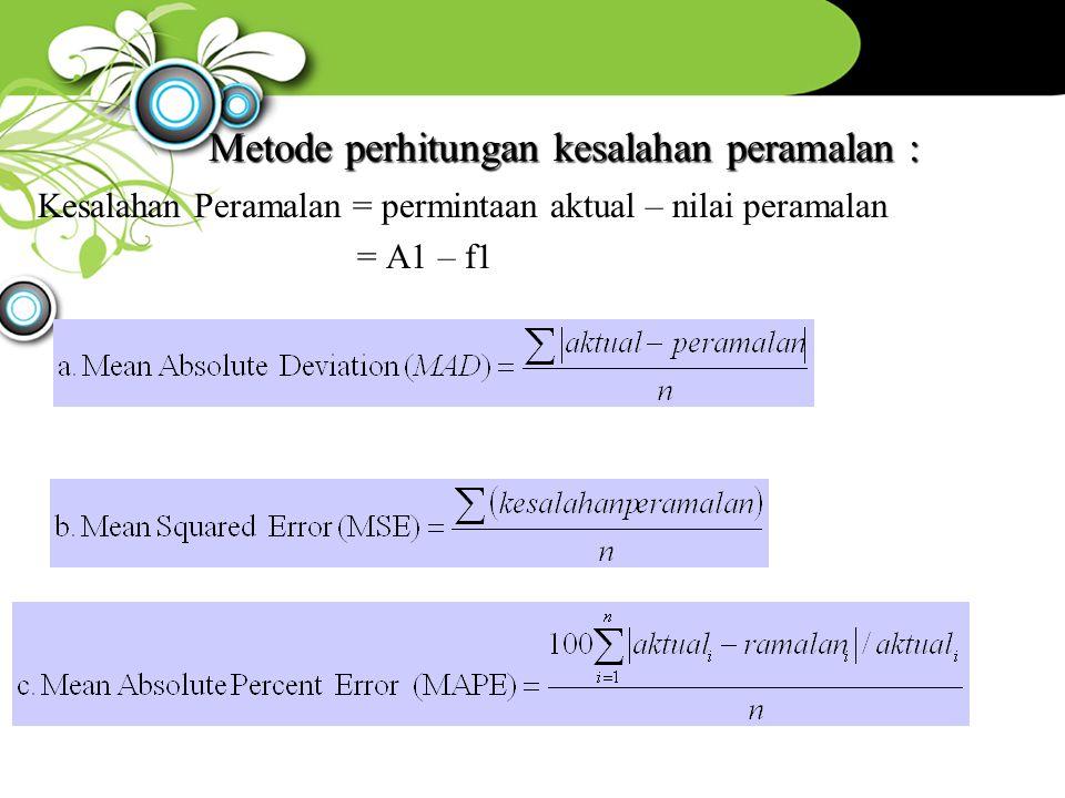 Kesalahan Peramalan = permintaan aktual – nilai peramalan = A1 – f1