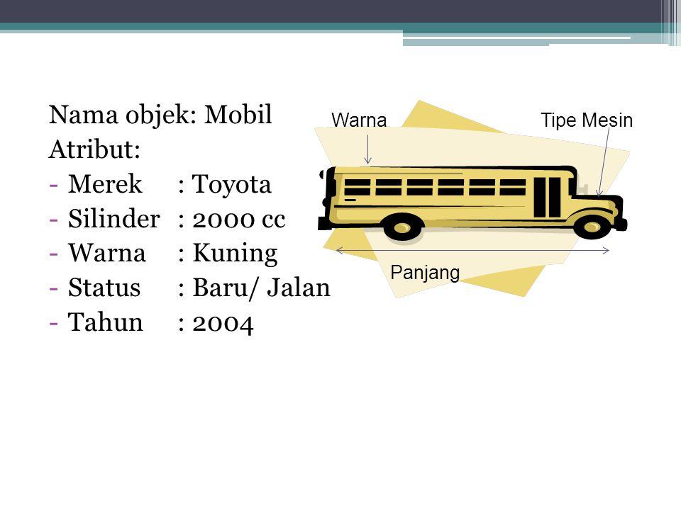 Nama objek: Mobil Atribut: Merek : Toyota Silinder : 2000 cc