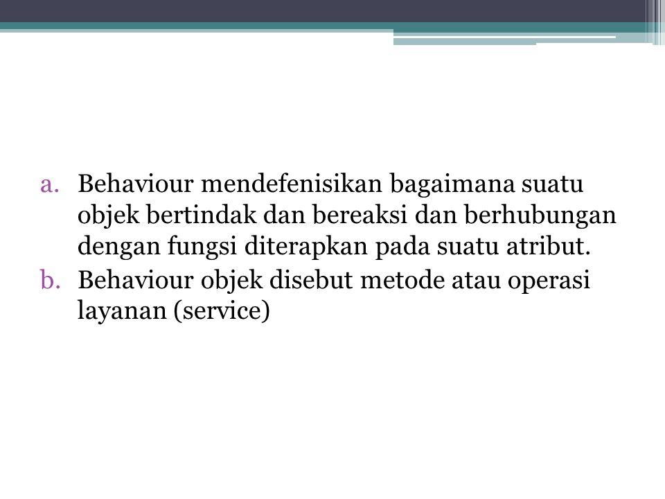 Behaviour mendefenisikan bagaimana suatu objek bertindak dan bereaksi dan berhubungan dengan fungsi diterapkan pada suatu atribut.