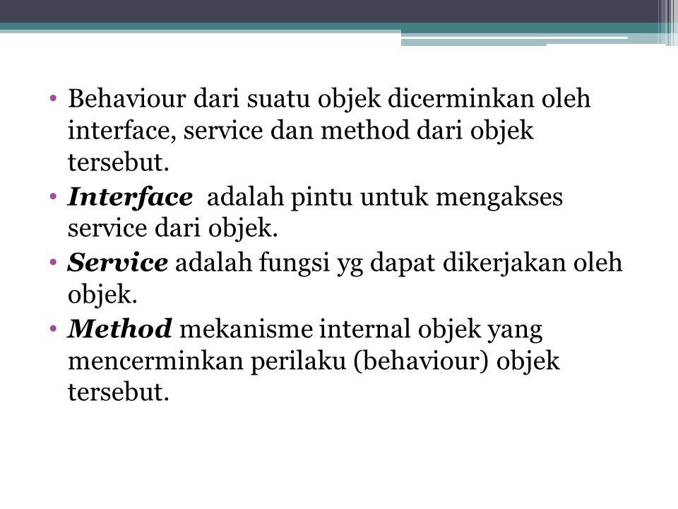 Behaviour dari suatu objek dicerminkan oleh interface, service dan method dari objek tersebut.