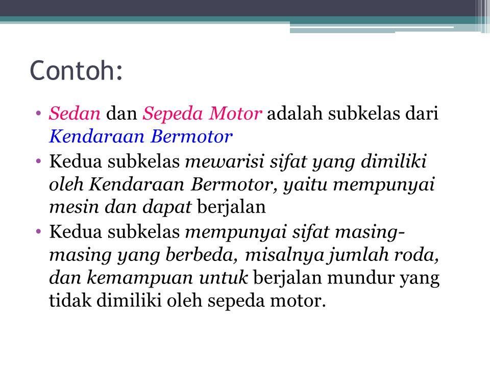 Contoh: Sedan dan Sepeda Motor adalah subkelas dari Kendaraan Bermotor