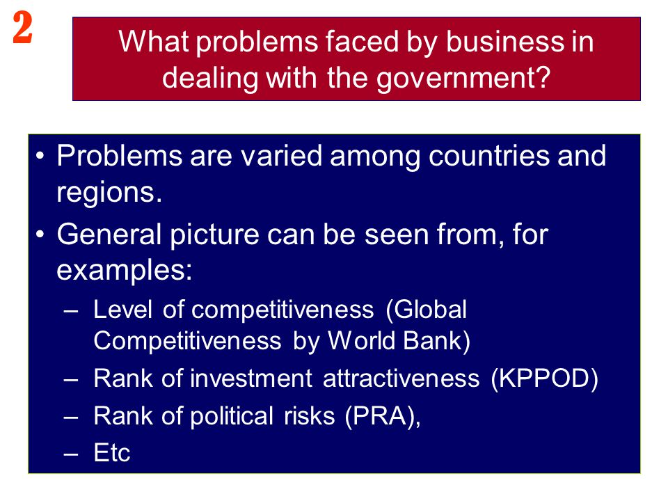 What problems faced by business in dealing with the government