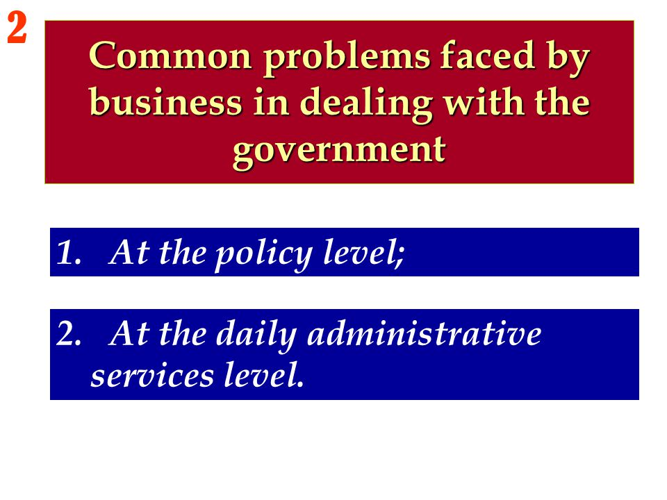 Common problems faced by business in dealing with the government