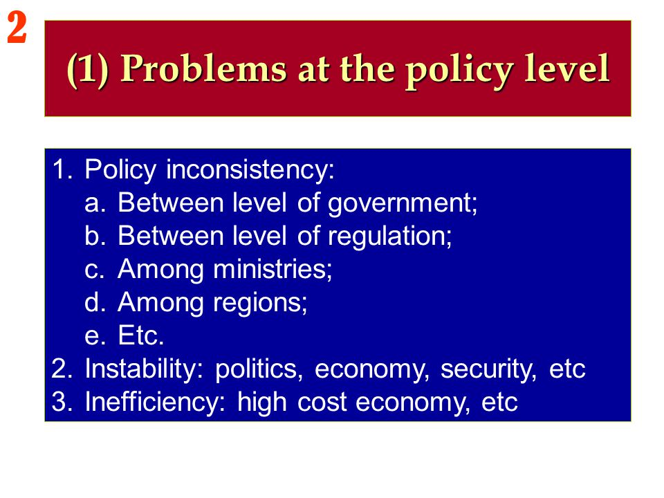 (1) Problems at the policy level
