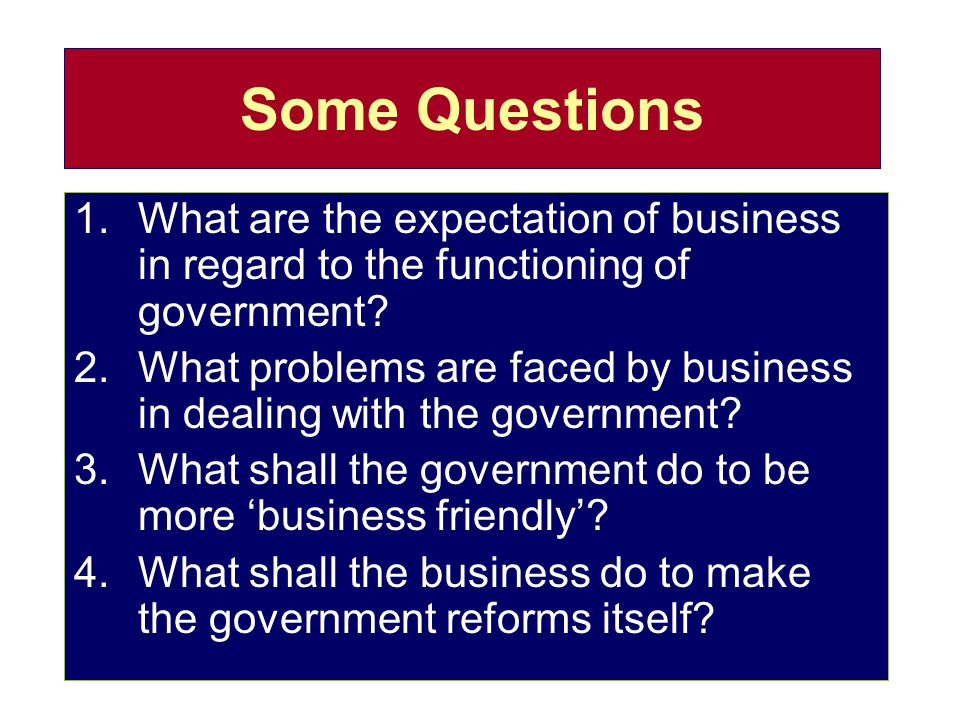 Some Questions What are the expectation of business in regard to the functioning of government