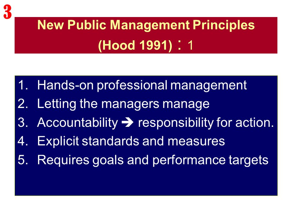 New Public Management Principles (Hood 1991) : 1