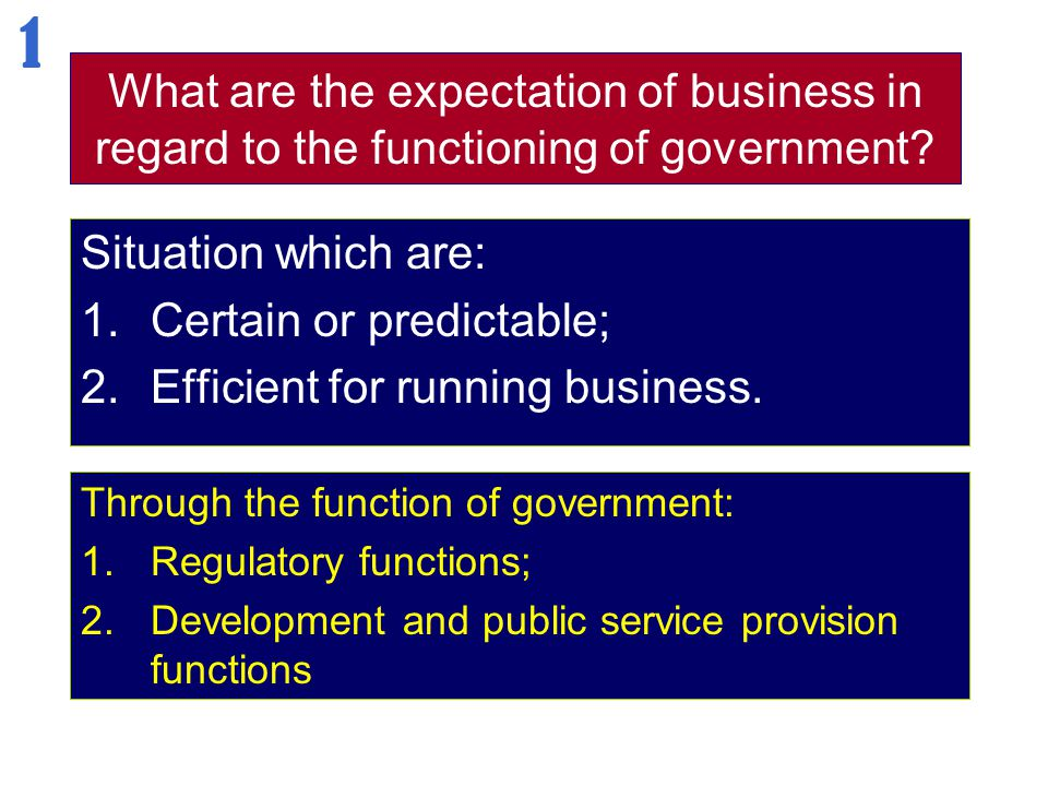 1 What are the expectation of business in regard to the functioning of government Situation which are: