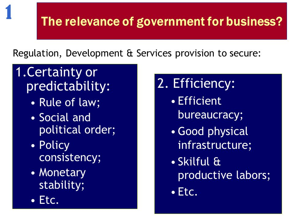 The relevance of government for business