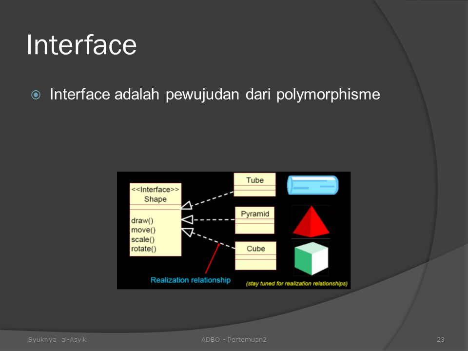 Interface Interface adalah pewujudan dari polymorphisme