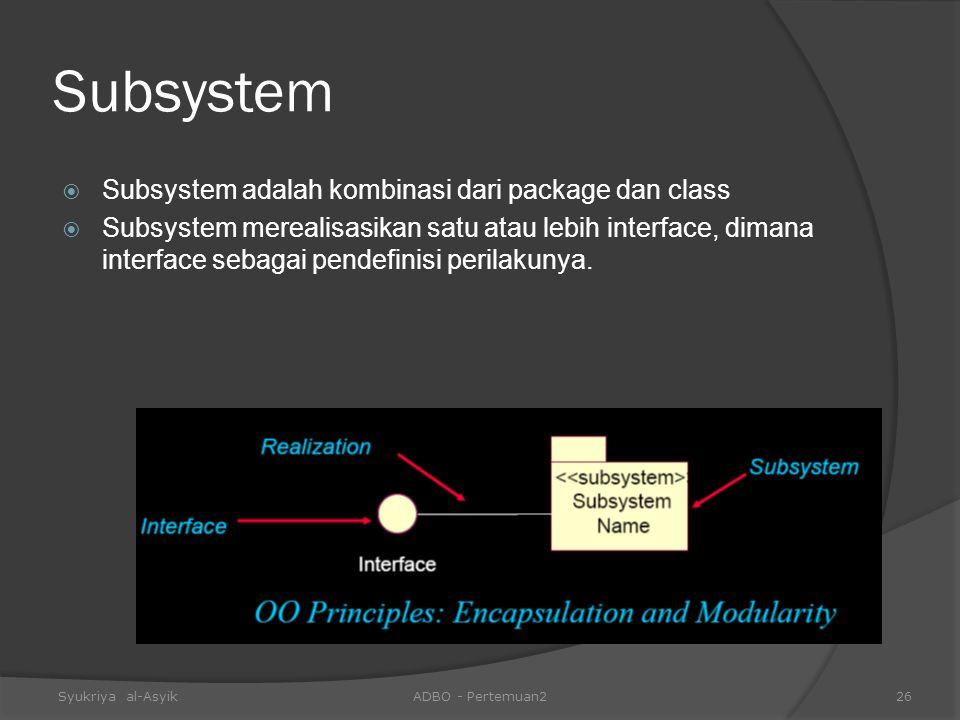 Subsystem Subsystem adalah kombinasi dari package dan class