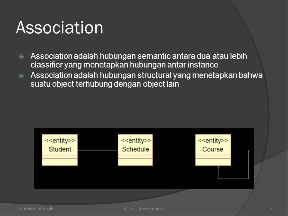 Association Association adalah hubungan semantic antara dua atau lebih classifier yang menetapkan hubungan antar instance.