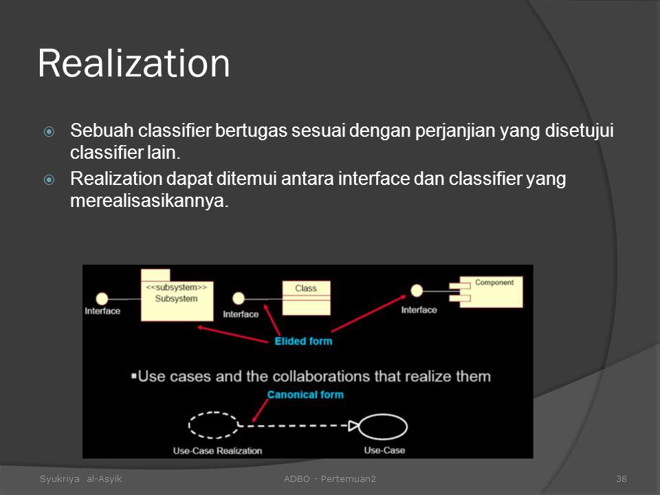 Realization Sebuah classifier bertugas sesuai dengan perjanjian yang disetujui classifier lain.