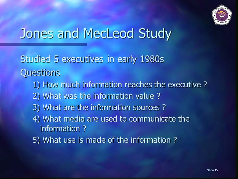 Jones and MecLeod Study