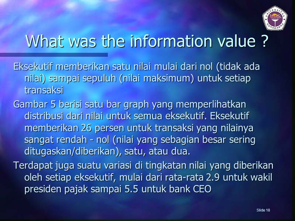 What was the information value
