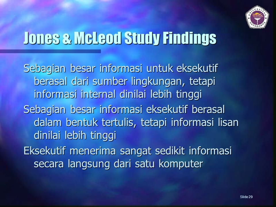 Jones & McLeod Study Findings