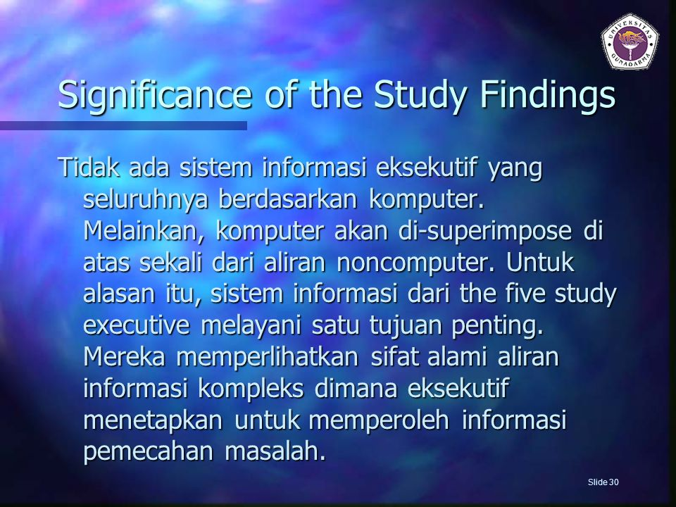 Significance of the Study Findings