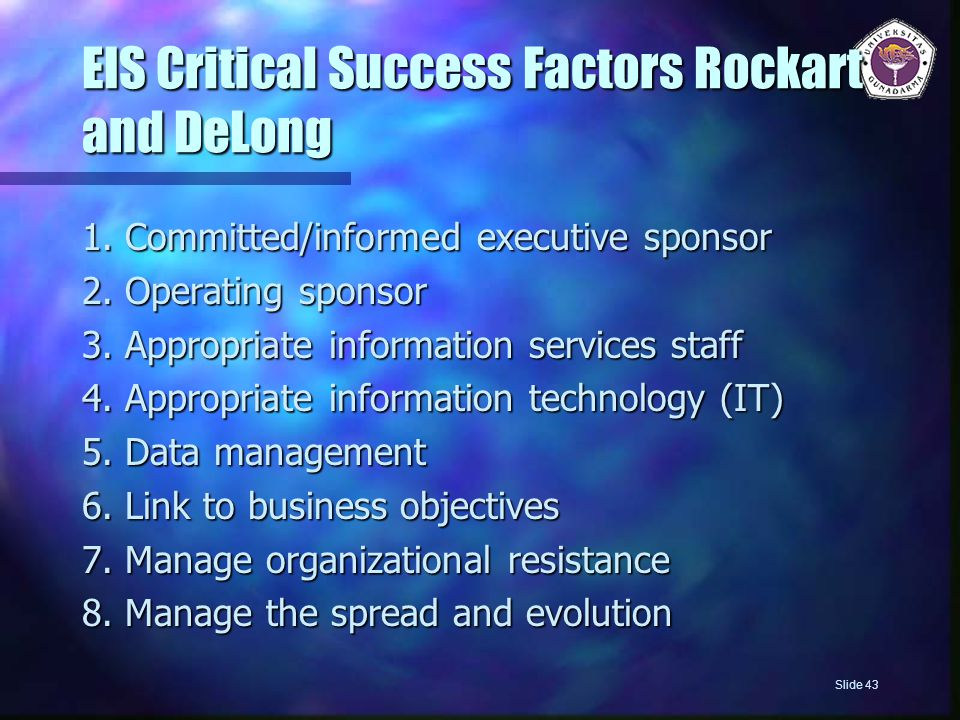 EIS Critical Success Factors Rockart and DeLong