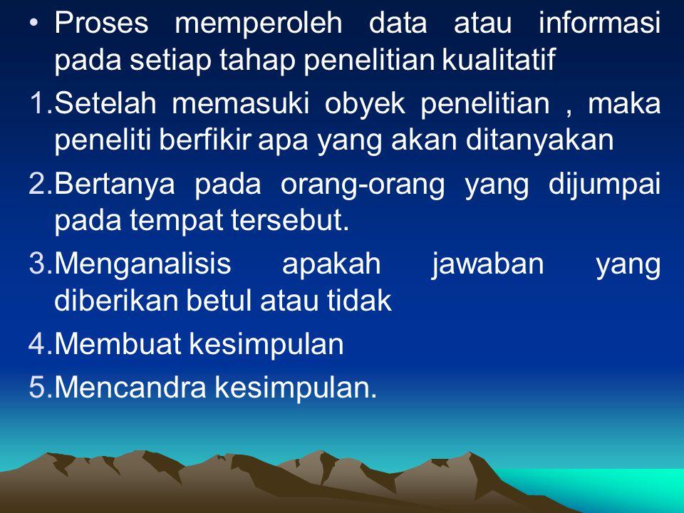 Proses memperoleh data atau informasi pada setiap tahap penelitian kualitatif