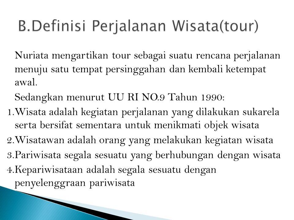B.Definisi Perjalanan Wisata(tour)