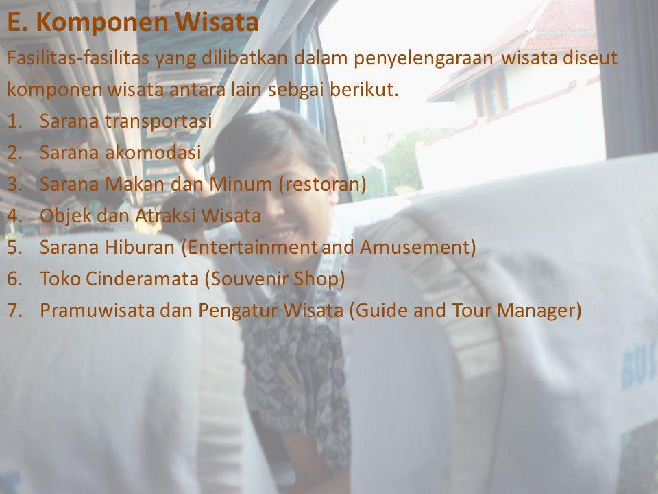 E. Komponen Wisata Fasilitas-fasilitas yang dilibatkan dalam penyelengaraan wisata diseut. komponen wisata antara lain sebgai berikut.