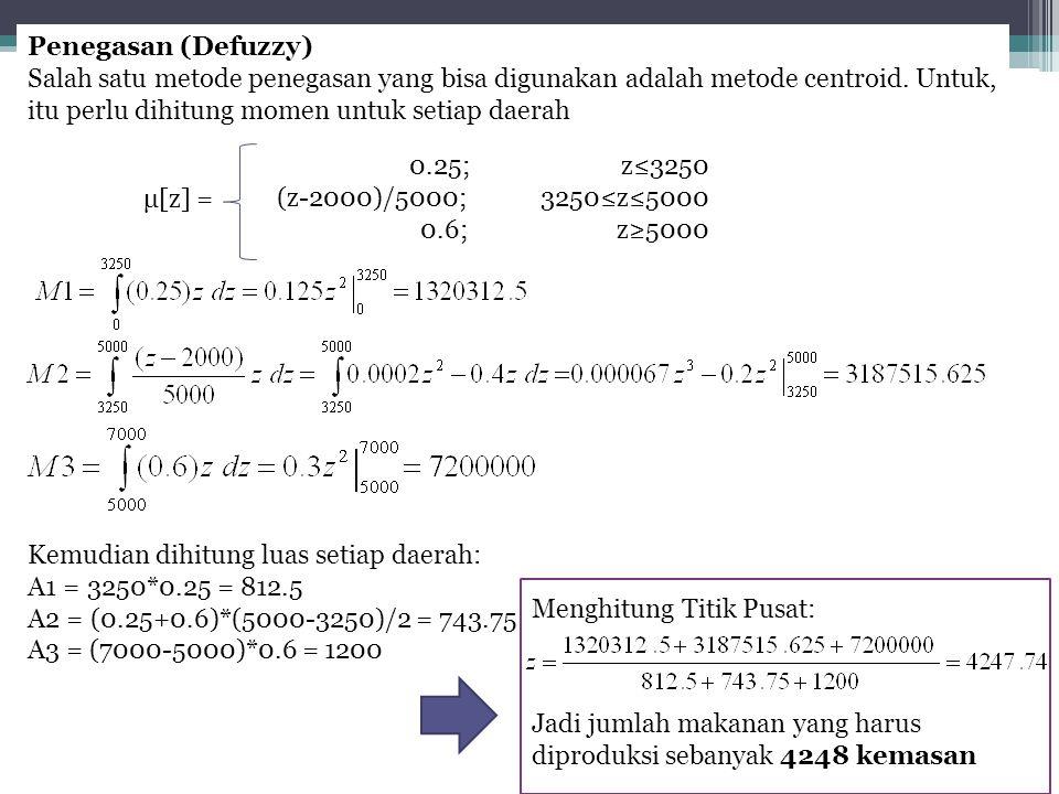 Penegasan (Defuzzy) Salah satu metode penegasan yang bisa digunakan adalah metode centroid. Untuk, itu perlu dihitung momen untuk setiap daerah.
