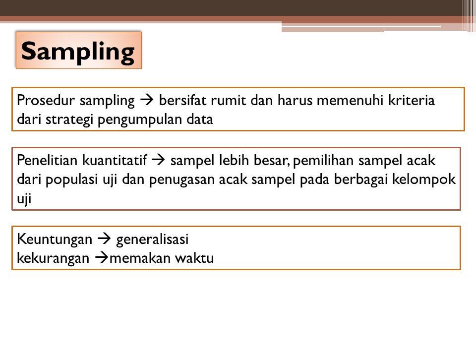 Sampling Prosedur sampling  bersifat rumit dan harus memenuhi kriteria dari strategi pengumpulan data.
