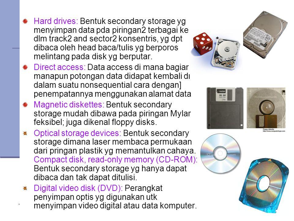 Hard drives: Bentuk secondary storage yg menyimpan data pda piringan2 terbagai ke dlm track2 and sector2 konsentris, yg dpt dibaca oleh head baca/tulis yg berporos melintang pada disk yg berputar.