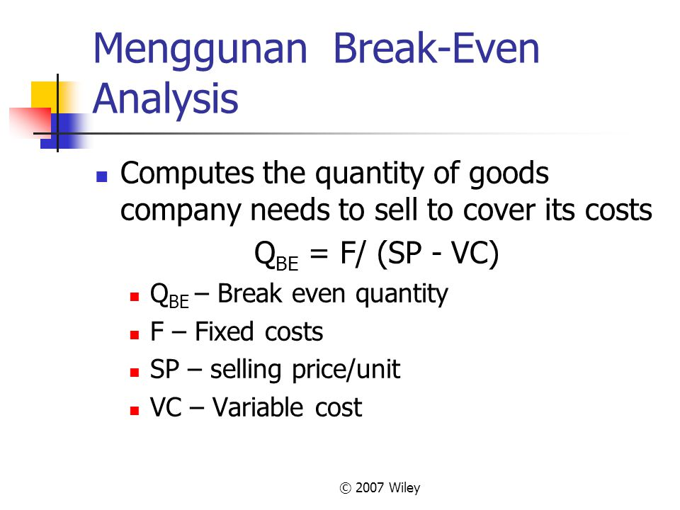 Menggunan Break-Even Analysis